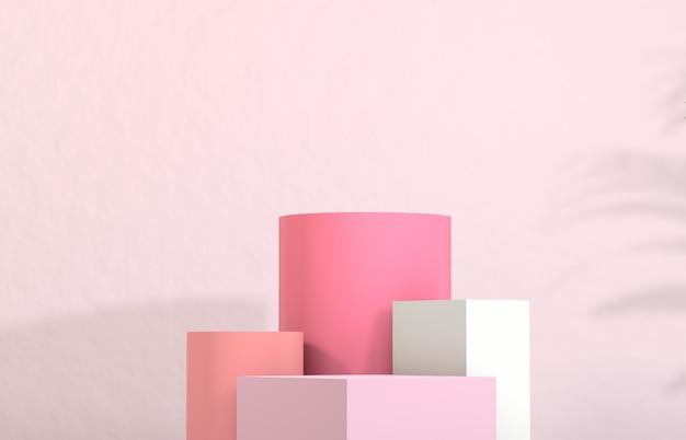化粧品の展示。ファッション美容パステルピンク色の背景。 Premium写真