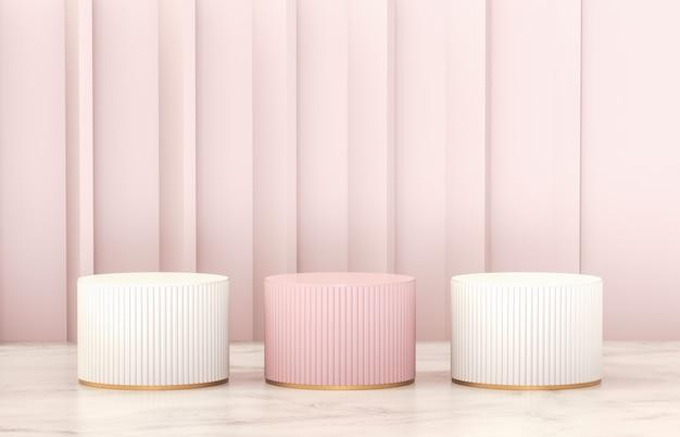 製品展示用の豪華なピンクと白のシリンダー演壇。 Premium写真