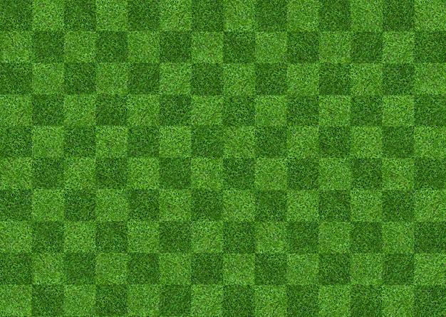 サッカーとフットボールのための緑の芝生フィールドパターン背景。 Premium写真