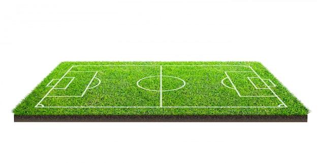 クリッピングパスと白い背景で隔離の緑の芝生パターンテクスチャ上のフットボール競技場またはサッカーフィールド。ラインパターンを持つサッカースタジアムの背景。 Premium写真
