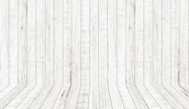 パースペクティブビューでビンテージ木目テクスチャ。空の木造部屋スペースの背景。 Premium写真