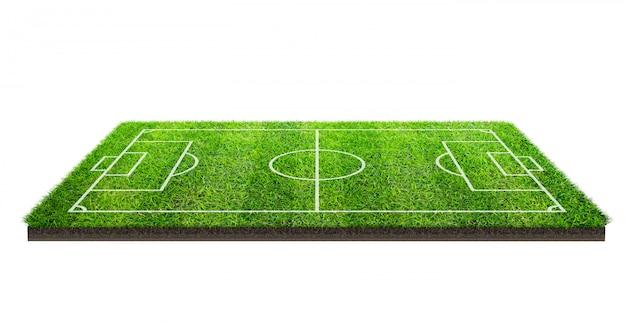 フットボール競技場または分離された緑の芝生の上のサッカーフィールド Premium写真