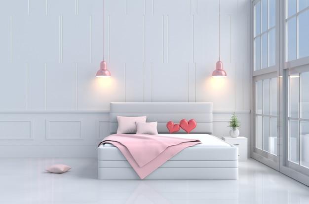 バレンタインデーの愛のベッドルーム。ピンクベッド、窓、椅子、枕、毛布、ランプの赤ちゃん Premium写真