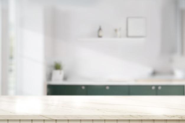 Мраморная столешница в кухонной комнате Premium Фотографии