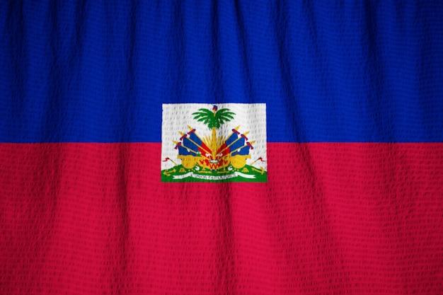 Макрофотография фальшивый флаг гаити, флаг гаити, дующий в ветру Premium Фотографии