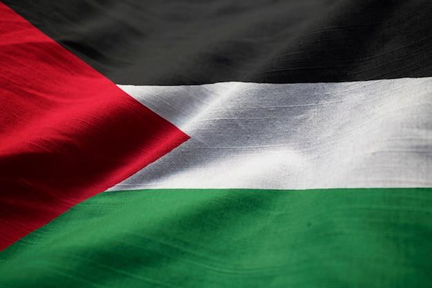 拡大したパレスチナの旗、風に吹くパレスチナの旗 Premium写真