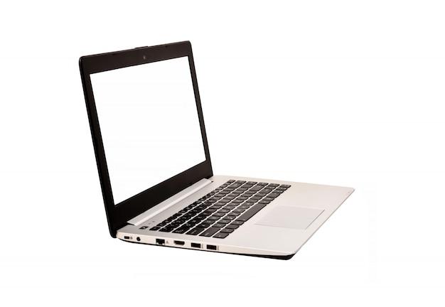 クリッピングパスと白い背景で隔離された空白の画面を持つ現代のラップトップコンピューター Premium写真