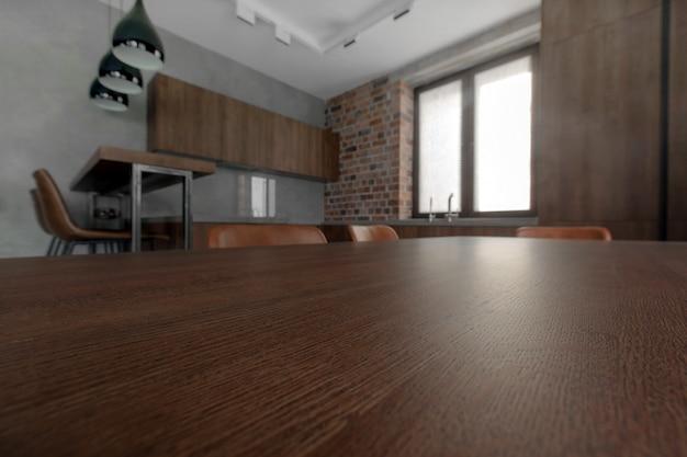 現代の明るいキッチンのシンプルなインテリアデザイン Premium写真