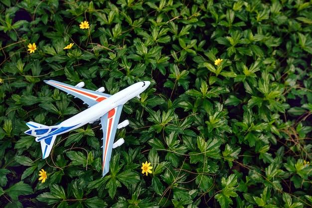 Плоская планировка концепции путешествия с самолетом Premium Фотографии