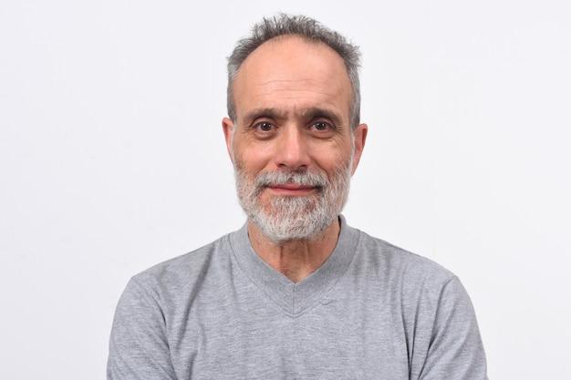 白い背景の上の男の肖像 Premium写真
