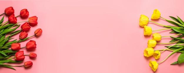 春の花ピンクの背景に分離された色のチューリップの花の花束。 Premium写真