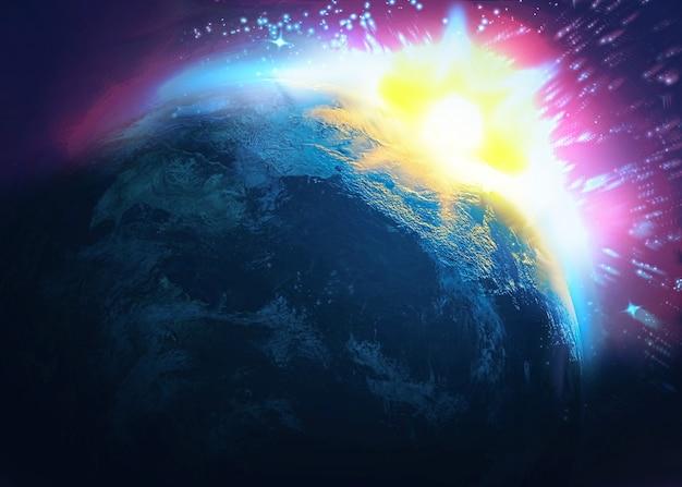 小惑星の衝突、世界の終わり Premium写真