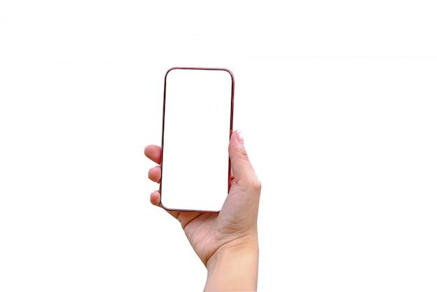スマートフォンを持っている女性と Premium写真