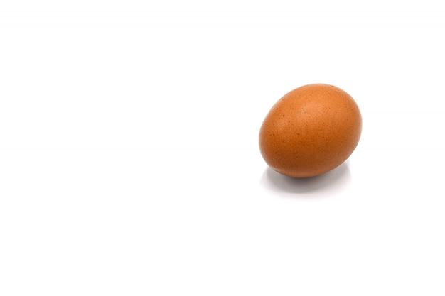 Яйцо и тень на белом фоне Premium Фотографии