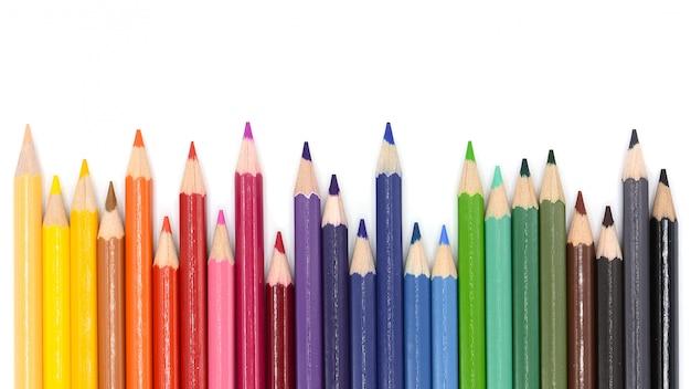 白い背景で隔離の色鉛筆 Premium写真