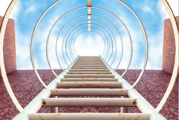 高層ビルの空への階段ステップ Premium写真