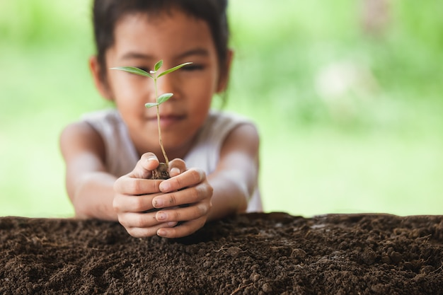 黒の土に若い木を植えるアジアの子供の女の子 Premium写真