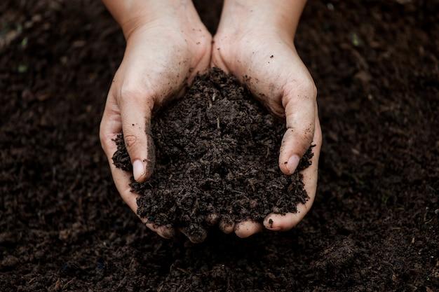 植栽のための手の土 Premium写真