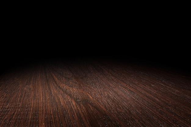 濃い茶色の木の床のテクスチャの視点の背景 Premium写真