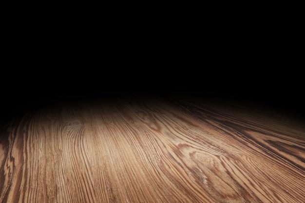 茶色の木の床の質感の視点の背景 Premium写真