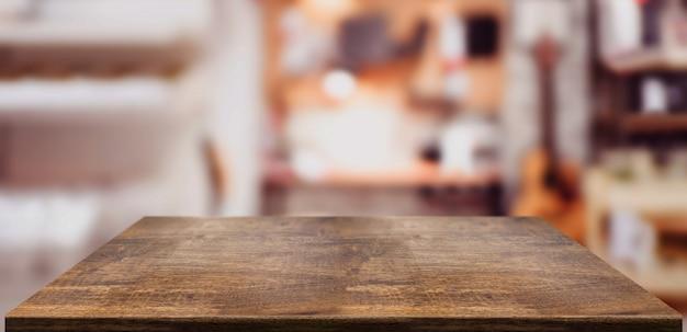 ホームオフィスの視点の木製テーブルカウンター Premium写真