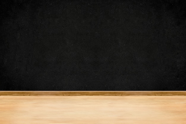 部屋の視点黒板壁と木製の床のインテリアの背景 Premium写真