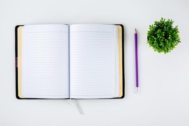 メモやメモを開くためのノートブックや日記を開く Premium写真