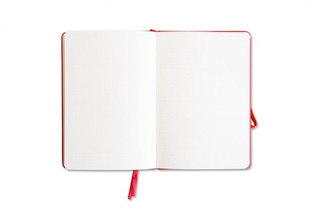 分離された赤いノートブックを開く Premium写真