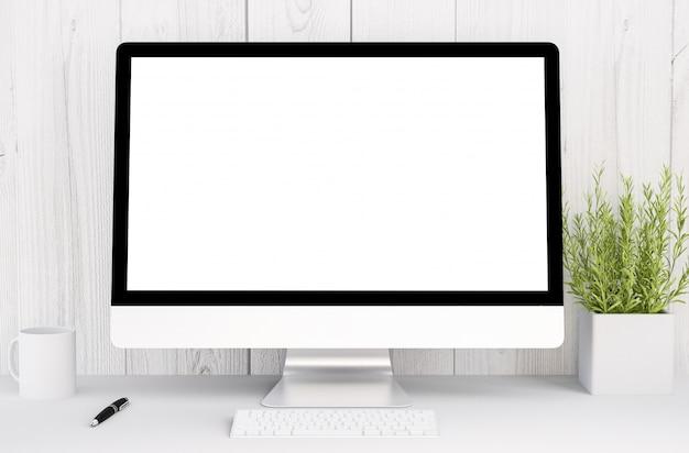 Белое рабочее пространство с компьютером Premium Фотографии