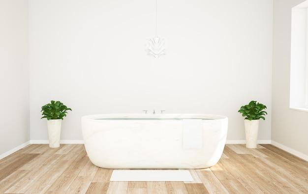 Деревянная и белая стильная ванная комната Premium Фотографии