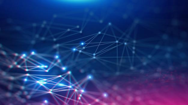 Геометрический ландшафт и футуристический цифровой блокчейн финтех-технологии. Premium Фотографии