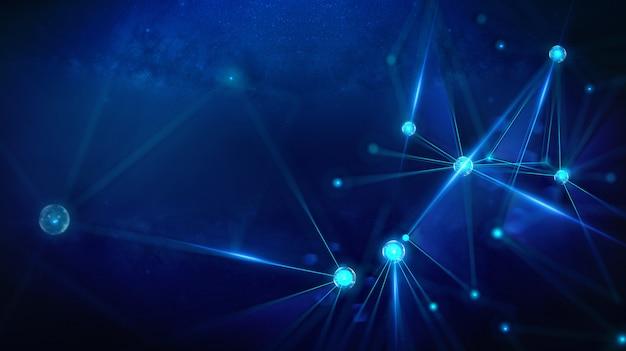 幾何学的景観と未来的デジタルブロックチェーンフィンテック技術 Premium写真