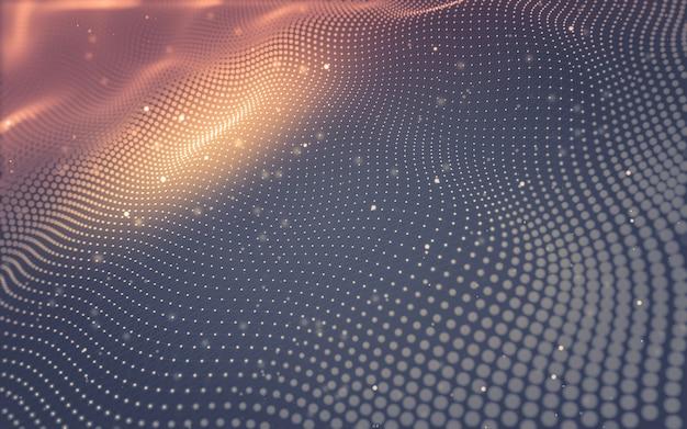 抽象的な背景。点と線をつなぐ多角形の分子技術 Premium写真