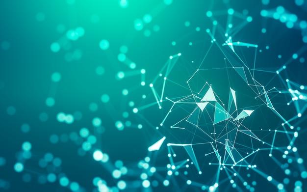 抽象的な背景。点と線を結ぶ多角形の分子技術。接続構造。ビッグデータの視覚化。 Premium写真
