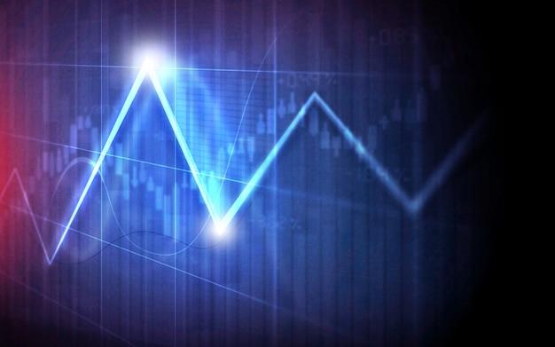 Финансовые графики и графики фоновый линейный график на экране Premium Фотографии