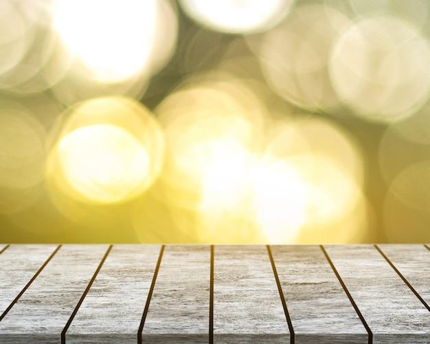 На белом деревянном столе с фоном боке Premium Фотографии