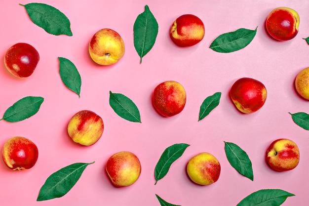 Свежие собранные нектарины лежат на розовом фоне растительный витамин кератин природный Premium Фотографии