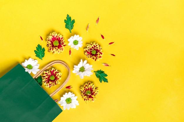 花の赤と白のアスターのパターン、黄色に分離された緑の葉 Premium写真