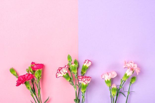 二重のカラフルな背景に異なるピンクのカーネーションの花の花束 Premium写真