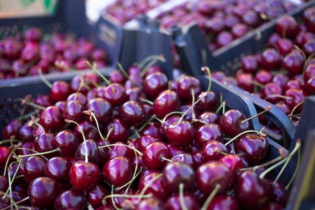 新鮮な赤いチェリーの箱、果物や野菜の売り手のカウンター、ファーマーズマーケット Premium写真