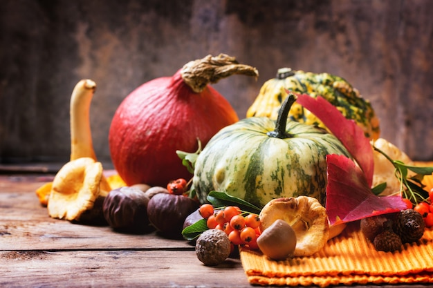 Тыквы, орехи и ягоды Premium Фотографии