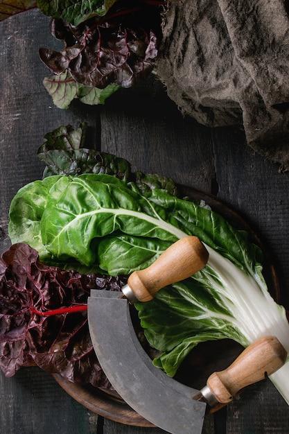 Листья салата мангольд мангольд Premium Фотографии