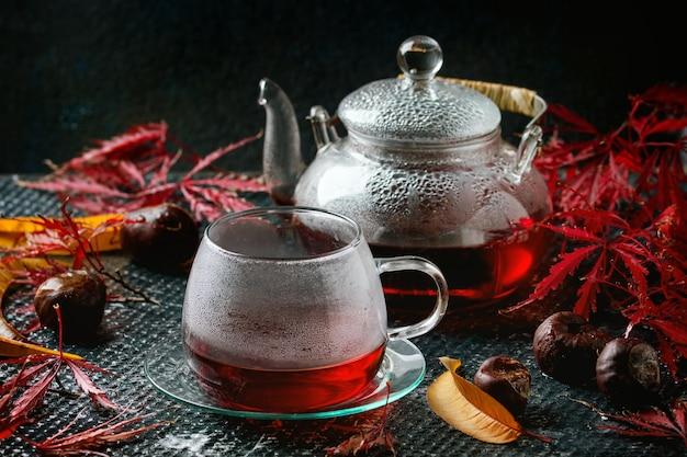 秋の赤いハイビスカスティー Premium写真