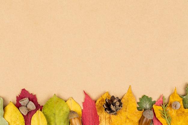 白地にカラフルな紅葉。秋のフレーム。フラット横たわっていた、トップビュー、コピースペース。 Premium写真