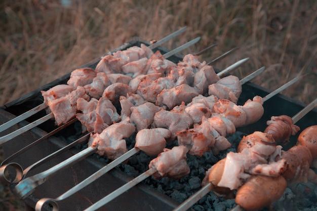 シシカバブのグリル焼き。公園で串焼きグリルで揚げた豚肉シシカバブ Premium写真