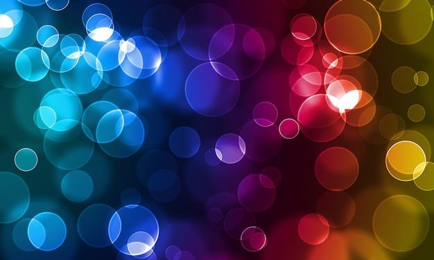 カラフルな背景に抽象的な光る円 Premium写真