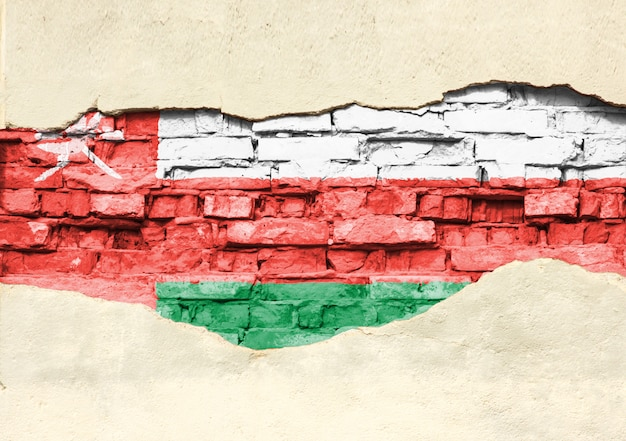 Национальный флаг омана на фоне кирпича. кирпичная стена с частично разрушенной штукатуркой, фона или текстуры. Premium Фотографии