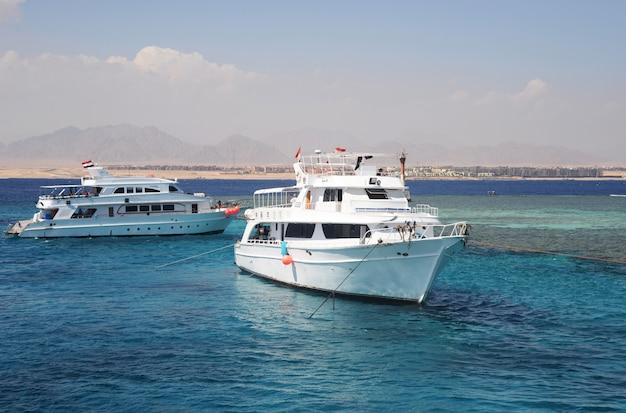エジプトのヨット船の白い海赤 Premium写真