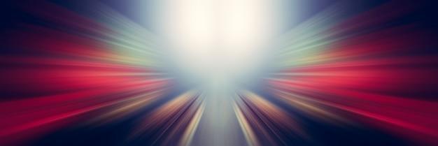 動的な白と赤の光の線。中心点からの光。 Premium写真