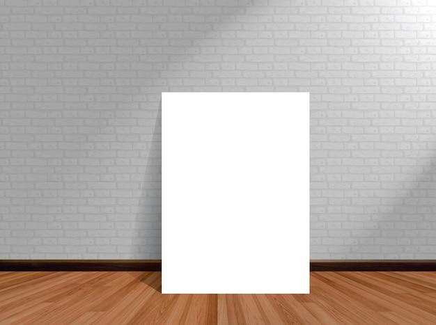 木製の床のレンガの壁と空の部屋の背景にポスターをモックアップします。 Premium写真